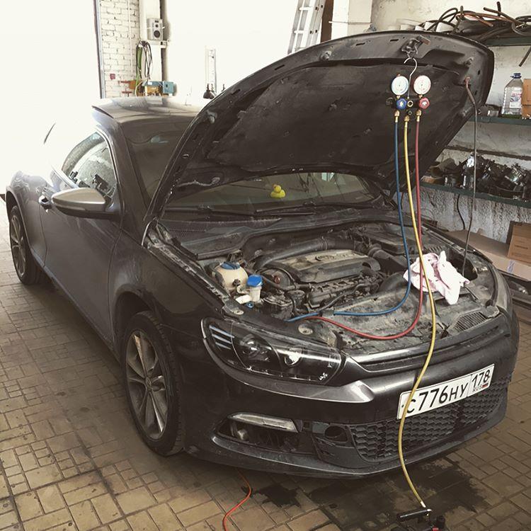 ремонт автокондиционера на автомобиле volkswager фольц scirocco заправка дозавравка аргон